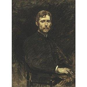 FRANK DUVENECK 1848-1919 PORTRAIT OF EMIL CARLSEN Measurements: 40in by 30in. Alternate Measurements: (101.6 by 76.2 cm) signed with the artist's monogrammed initials FD, l.l. oil on canvas Painted circa 1884. Provenance: Private Collection, Albany,