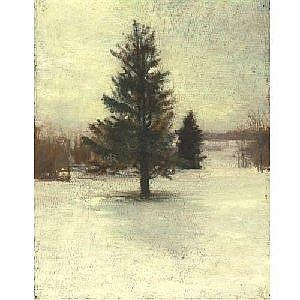 JOHN LA FARGE 1835-1910 SNOW. SKETCH: HILLSIDE WITH CEDARS. EVENING. Measurements: 12in. by 9.25in. Alternate Measurements: (30.5 by 23.6 cm) oil on panel Painted in 1873. We are grateful to Dr. James L. Yarnall for his assistance in cataloguing this