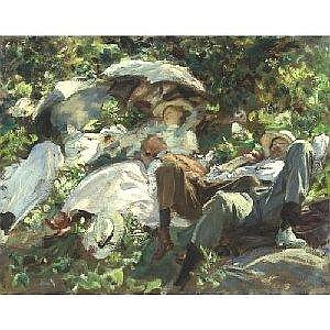JOHN SINGER SARGENT 1856-1925 GROUP WITH PARASOLS (A SIESTA) Measurements: 21.75in. by 28in. Alternate Measurements: (55.2 by 70.8 cm) inscribed to my friend Ginx and signed John S. Sargent, l.r. oil on canvas Painted in 1905. This painting will be