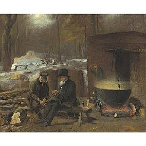 EASTMAN JOHNSON 1824-1906 AT THE CAMP - SPINNING YARNS AND WHITTLING Measurements: 19 by 23in. Alternate Measurements: (48.2 by 58.4 cm) signed with the artist's initials E.J., l.l. oil on board Painted circa 1864-1866. Provenance: Mrs. Eastman