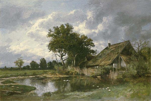 Otto Frölicher 1840-1890 , BAUERNHAUS MIT ENTENTEICH   FARMHOUSE WITH DUCKPOND Öl auf Leinwand