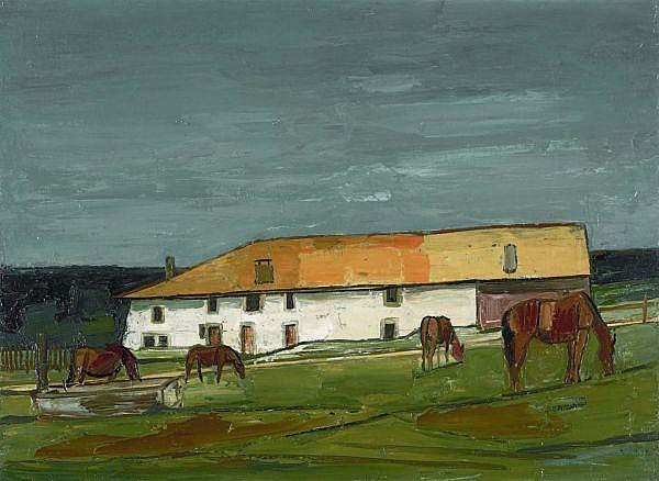 - Albert Schnyder 1898-1989 , CHEVAUX DEVANT LA FERME, 1961   HORSES IN FRONT OF THE FARMSTEAD, 1961 Öl auf Leinwand