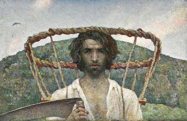 - Luigi Taddei 1898-1992 , AUTORITRATTO GIOVANILE CON GERLA E FALCE, 1920   JUVENILE SELF PORTRAIT WITH PANNIER AND SKYTHE, 1920 Öl auf Leinwand auf Leinwand