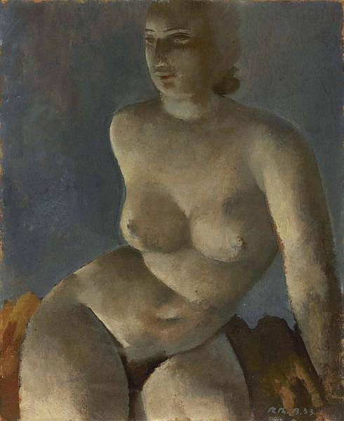 Rodolphe-Théophile Bosshard 1889-1960 , JEUNE FILLE NUE ASSISE, 1933   YOUNG FEMALE NUDE SITTING, 1933   Öl auf Karton