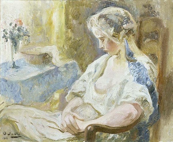 Otto Vautier 1863-1919 , JEUNE FILLE ASSISE   YOUNG LADY SITTING Öl auf Leinwand