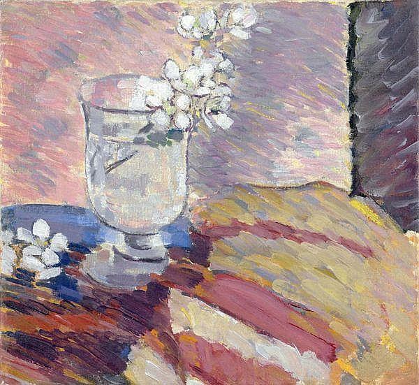 - Louis Moilliet 1880-1962 , BLÜTENZWEIGE IN EINEM GLAS   BLOSSOM BRANCH IN A GLASS Öl auf Leinwand