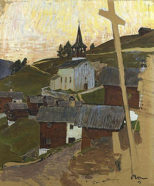 - Edmond Bille 1878 - 1959 , CHANDOLIN, 1907   CHANDOLIN, 1907   Kohle, Tusche, Aquarell und Gouache auf Papier