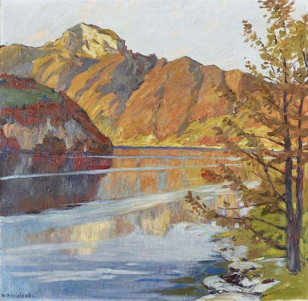 Hans Beat Wieland 1867-1945 , HERBSTSONNE, 1927   AUTUMN SUN, 1927 Öl auf Leinwand