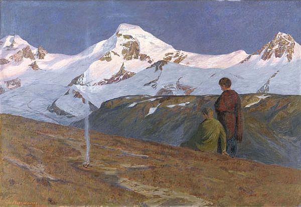 Hans Beat Wieland 1867-1945 , VERGLÜHEN   SUNSET Öl auf Leinwand