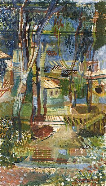 - Serge Brignoni 1903 - 2002 , TESSINER LANDSCHAFT, 1933   LANDSCAPE IN TICINO, 1933 Öl auf Pavatex