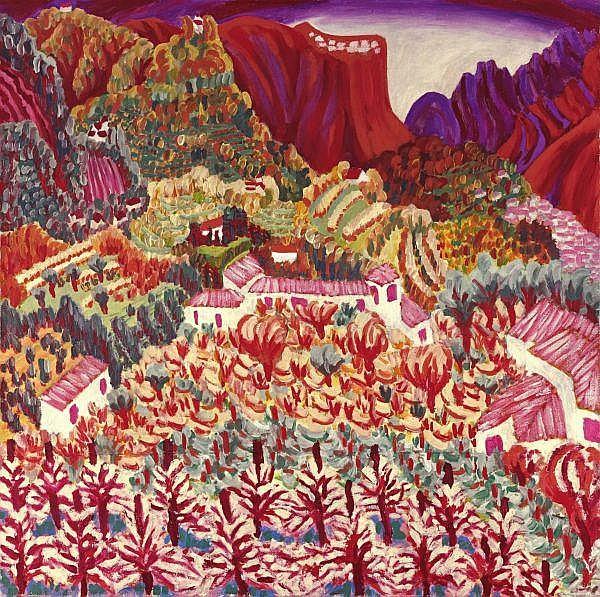 - Paul Camenisch 1893-1970 , HERBSTLANDSCHAFT IM MENDRISIOTTO   AUTUMN LANDSCAPE IN MENDRISIOTTO Öl auf Leinwand