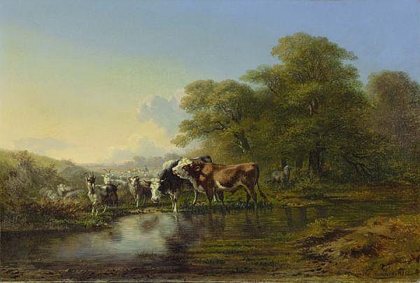 - Charles Humbert 1813-1881 , BOEUFS ET CHÈVRES, 1852   CATTLE AND GOATS, 1852 Öl auf Leinwand