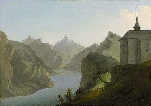 - Caspar Wolf 1735-1783 , BLICK VOM SEELISBERG AUF DEN URNERSEE IN RICHTUNG ALTDORF, 1777   VIEW FROM MOUNT SEELIS TO LAKE URI TOWARDS ALTDORF, 1777 Öl auf Leinwand