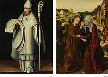 PIETER CLAEISSENS THE ELDER | Recto:The Visitation; <br />Verso: A Bishop Saint
