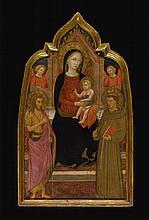 LIPPO D' ANDREA | The Madonna and Child enthroned with Saints John the Baptist and Francis of Assisi and two angels