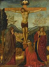 ALESSO DI BENOZZO GOZZOLI, FORMERLY KNOWN AS THE MAESTRO ESIGUO | The Crucifixion, with the Madonna and Saints John the Evangelist and Mary Magdalene, a city and mountainous landscape beyond