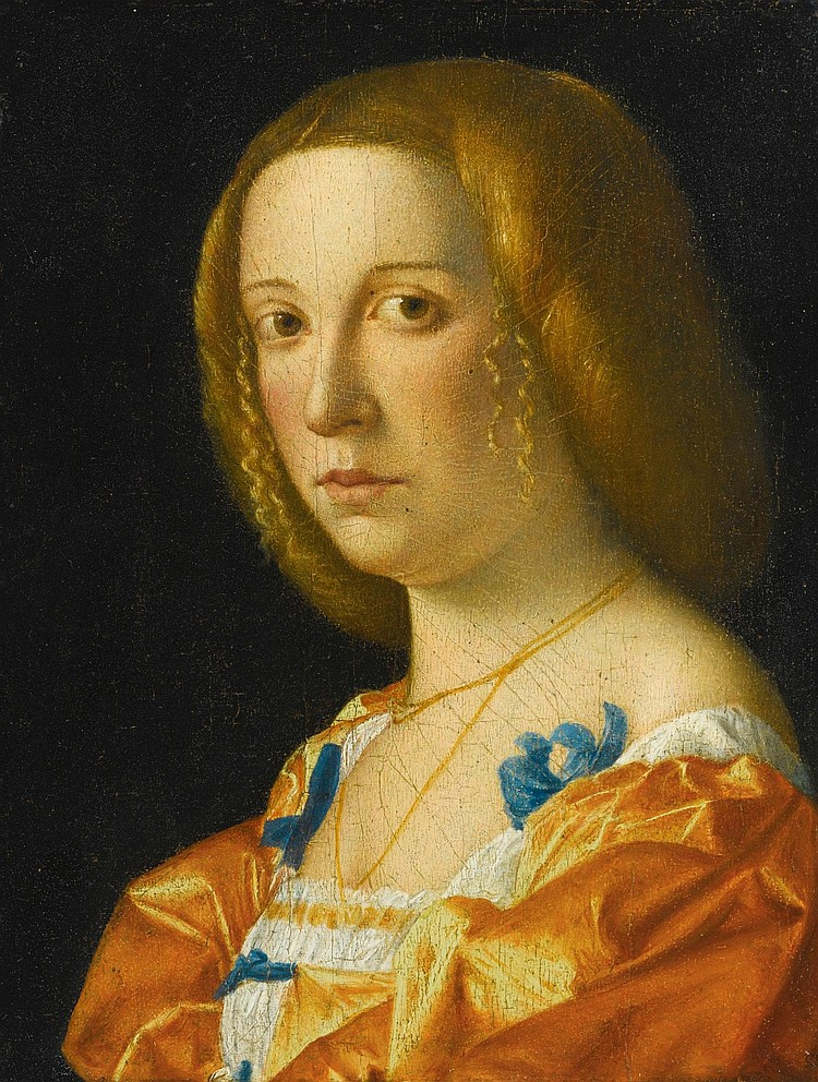 GIOVANNI FRANCESCO CAROTO | Portrait of a lady, bust length, facing left, dressed in an orange gown with blue ribbons