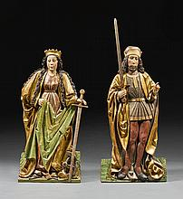 CIRCLE OF HANS KLOCKER (BEFORE 1474-AFTER 1500)<BR />AUSTRIAN, TYROL, CIRCA 1480 | pair of reliefs of Saint Catherine of Alexandria and a Holy Knight