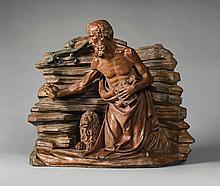 ATTRIBUTED TO BACCIO DA MONTELUPO (MONTELUPO FIORENTINO 1469 - 1523? LUCCA)<BR />ITALIAN, FLORENCE, CIRCA 1500-1515 | Saint Jerome and the lion