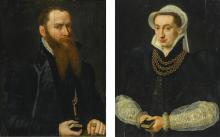 WILLEM KEY | Portrait of a bearded gentleman, half length, in a black doublet, holding the Book of Psalms;<br />Portrait of a lady, half length in a black gown, holding the Book of Psalms