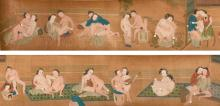 CHINESE SCHOOL, QING DYNASTY, 18TH/19TH CENTURY,<BR /><BR />A FINELY PAINTED EROTIC SUBJECT HANDSCROLL, ATTRIBUTED TO QIU YING |