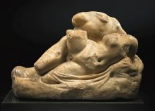 A ROMAN MARBLE GROUP OF TWO LOVERS, CIRCA 1ST/2ND CENTURY A.D. | A Roman Marble Group of Two Lovers