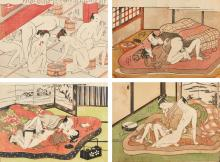 ISODA KORYUSAI (ACT. 1768-88) AND OTHERS,<BR /><BR />TEN EROTIC PRINTS |
