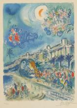 "1988 Vintage MARC CHAGALL /""TRIBE OF DAN/"" SMALL MODEL COLOR Print Lithograph"