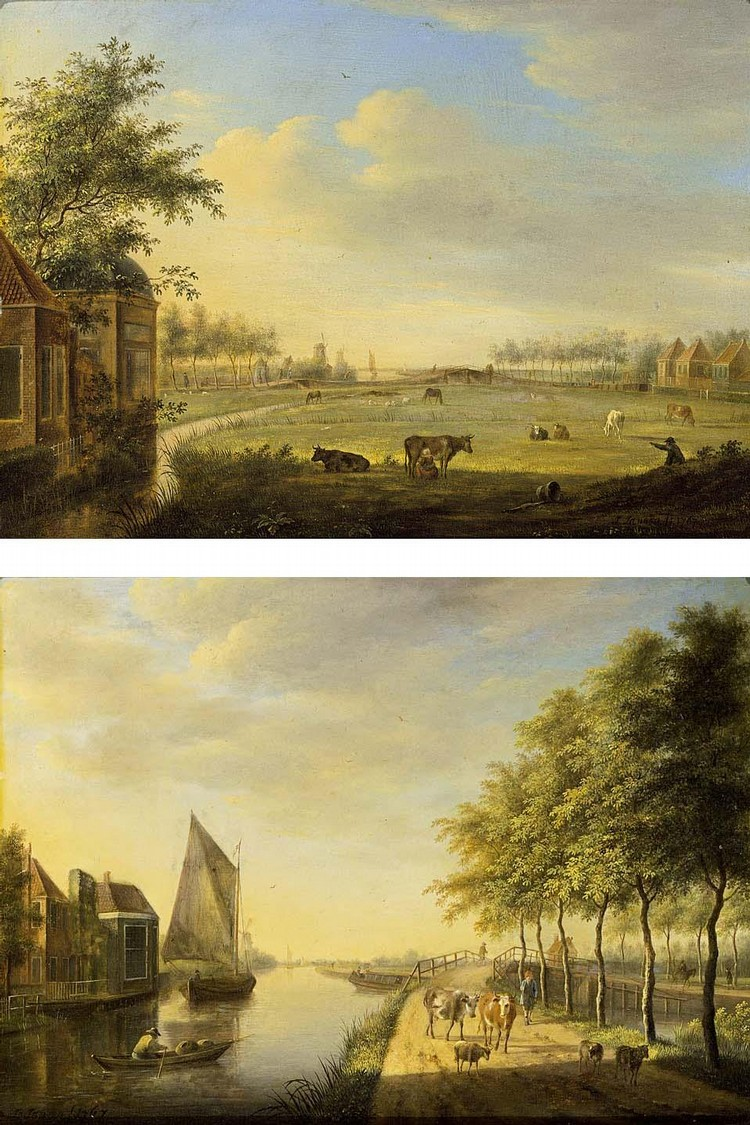 OTHER PROPERTIES JOHANNES JANSON AMBON 1729 - 1784 LEIDEN A VIEW OF A CANAL WITH BOATS BY A