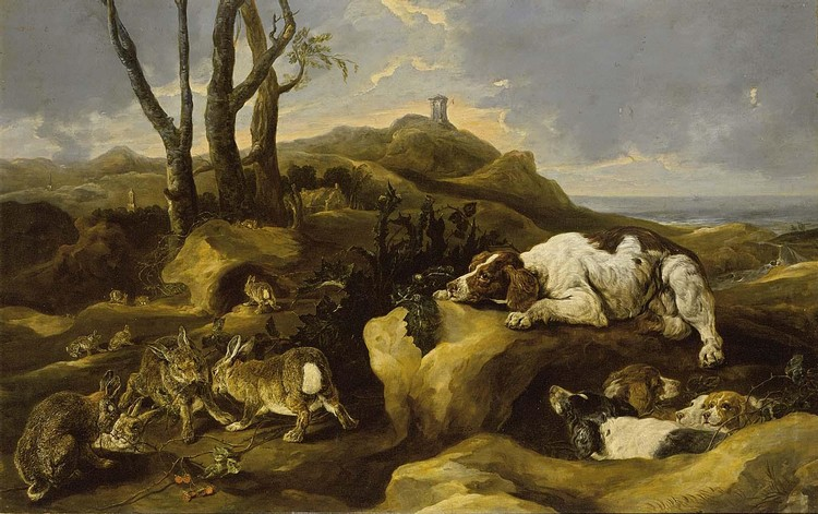 PROPERTY FROM A DECEASED'S ESTATE JOANNES FIJT ANTWERP 1611 - 1661 SPANIELS STALKING RABBITS IN