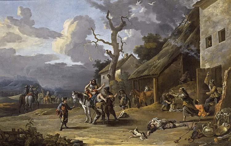 OTHER PROPERTIES ANTON GOUBAU ANTWERP 1616 - 1698 MERCENARIES PLUNDERING A VILLAGE