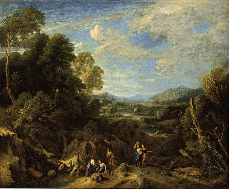 JAN BAPTISTE HUYSMANS ANTWERP 1654 - 1716 AN EXTENSIVE RIVER LANDSCAPE WITH CLASSICAL FIGURES
