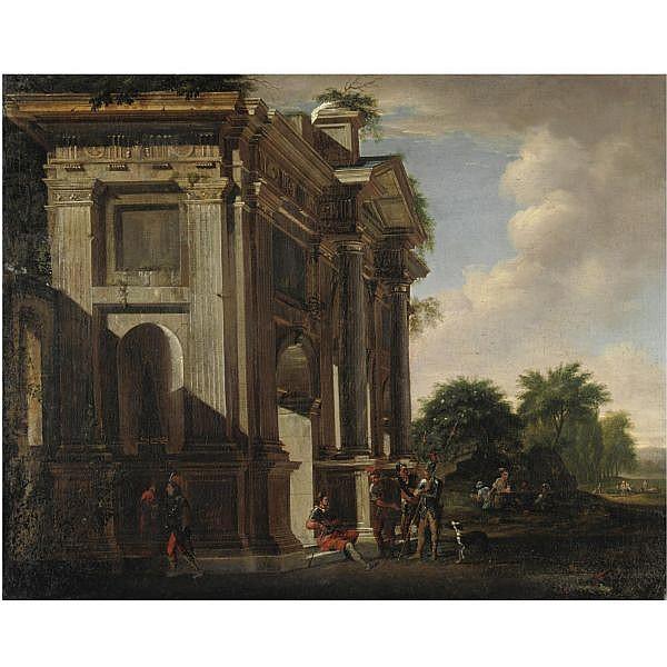 Viviano Codazzi (Bergamo 1604-1670 Roma) e Adriaan van der Cabel (Rijswijk 1630/1-1705 Lione) , Capriccio architettonico arco trionfale e soldati olio su tela