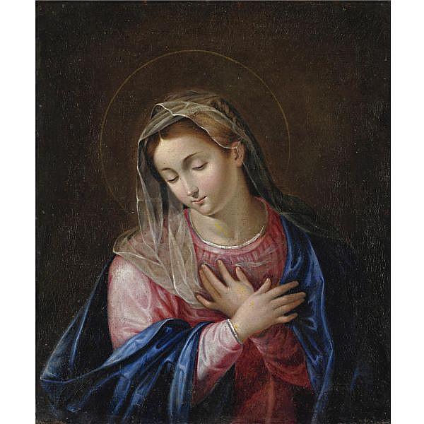 Attribuito a Scipione Pulzone , Gaeta 1544-1598 Roma Madonna olio su prima tela
