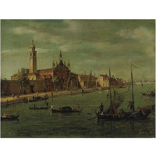 Francesco Zanin , Venezia c.1780-1850 Venezia, Santa Maria delle Grazie olio su prima tela