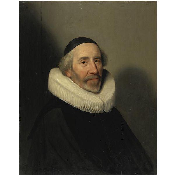 Jan Jansz. Westerbaen , The Hague circa 1601 - 1686 Ritratto di gentiluomo con gorgiera e copricapo nero olio su tavola