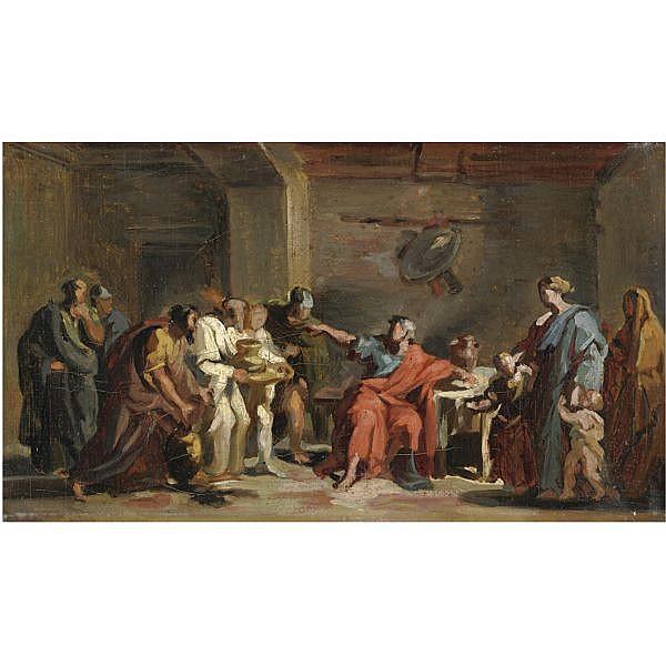 Vincenzo Camuccini , Roma 1771-1844 Curio Dentato rifiuta i doni dei Sanniti olio su prima tela, bozzetto
