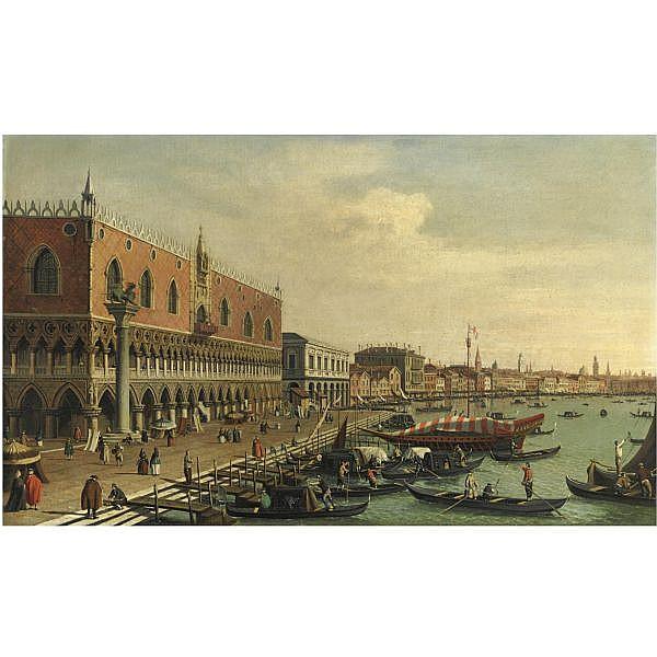 William James , Attivo nel 1730-1780 Venezia, il Palazzo Ducale e la Riva degli Schiavoni olio su tela