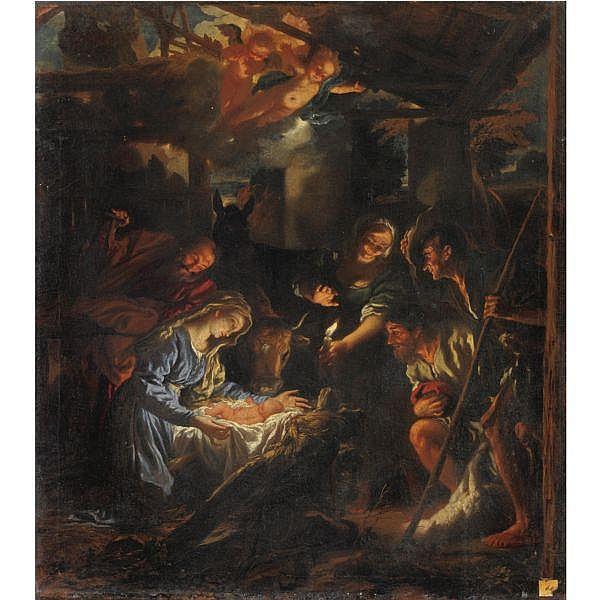 Livio Mehus , Oudenaarde c.1630-1691 Firenze Adorazione dei Pastori olio su tela, senza cornice