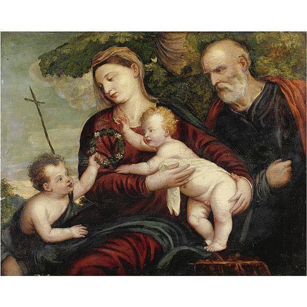 Polidoro de Renzi, detto Polidoro da Lanciano , Lanciano circa 1515-1565 Venezia Sacra Famiglia con San Giovannino olio su tavola
