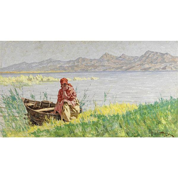 Angiolo Tommasi , (Livorno 1858 - Torre del Lago 1923) sulla riva del lago di Massaciuccoli olio su compensato