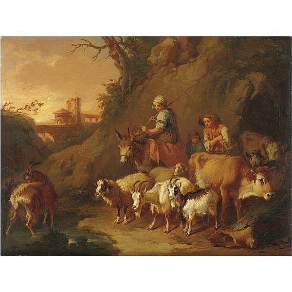Francesco Londonio , Milano 1723-1783   Contadini con armenti olio su tela