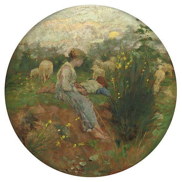 Niccolò Cannicci , (Firenze 1846 - 1906) Pastorelli con gregge olio su terracotta