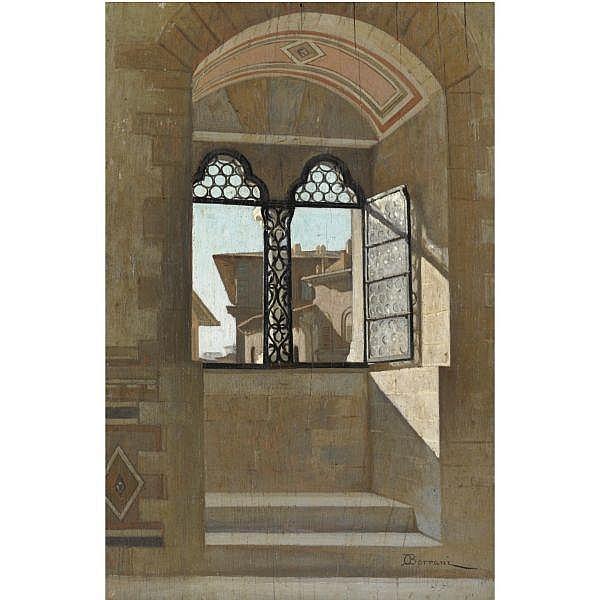 Odoardo Borrani , (Pisa 1832 - Firenze 1905) interno del bargello olio su tavola