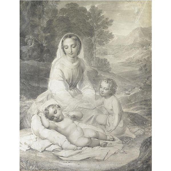 Natale Schiavoni , (Chioggia 1777 - Venezia 1858) Madonna con Bambino e San Giovannino gessetti su carta applicata su tela