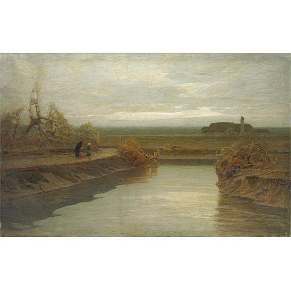 Francesco Sartorelli , (Cornuda 1856 - Udine 1938) Laguna veneta olio su tela, senza cornice