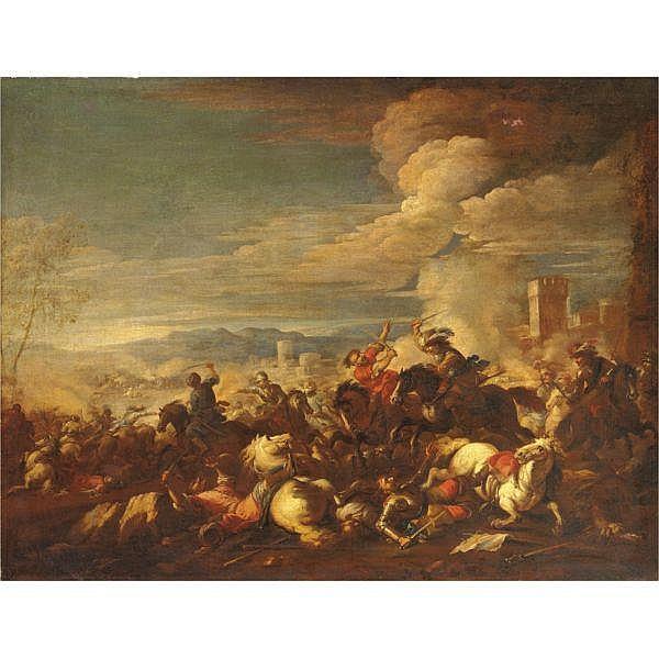 Francesco Monti, detto il Brescianino , Brescia 1646-1703 Parma Battaglia olio su tela