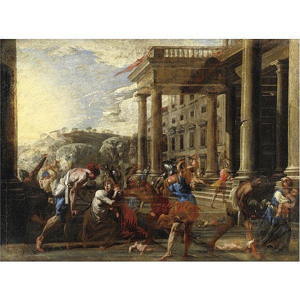Domenico Gargiulo, detto Micco Spadaro , Napoli 1612-1675 La strage degli innocenti olio su tela