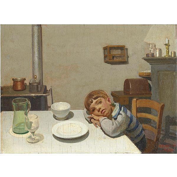 - Oreste Albertini , (Torre del Mangano 1887 - Besano 1953)   Dopo cena a Viconago olio su compensato