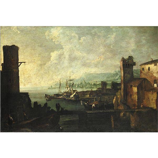 Bartolomeo Pedon , Venezia 1665-1732   Marina con figure olio su tela, senza cornice